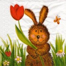 Serviette papier lapin et fleurs 33 cm X 33 cm 3 plis