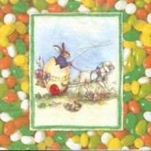 Serviette papier motif lapin  Pâques 33 cm X 33 cm 3 plis