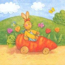 Serviette papier motif lapins de Paques et voiture carotte