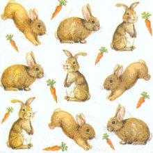 Serviette papier lapins et carottes  33 cm X 33 cm 3 plis