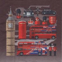 Serviette papier London et et Bus  33 cm X 33 cm 3 plis
