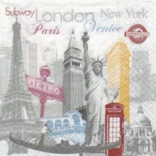 Serviette papier Londres et métro 25 cm X 25 cm 3 plis