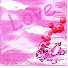 Serviette papier Love Eléphant 33 cm X 33 cm 3 plis