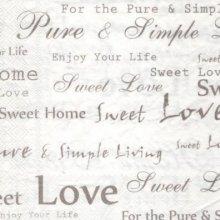 Serviette papier love sweet 33 cm X 33 cm 3 plis
