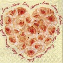 Serviette papier Love et roses 25 cm X 25 cm 3 plis