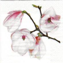 Serviette papier fleurs magnolia blanc 33 cm X 33 cm 3 plis