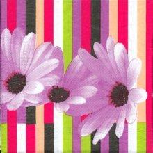 Serviette papier motif marguerite violet 33 cm X 33 cm