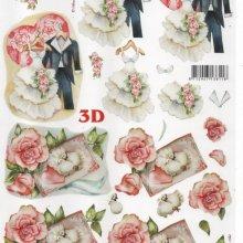 Mariage et rose rouge feuille 3D pour carte 3D