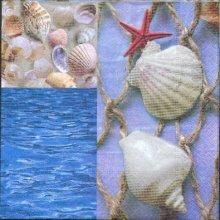 Serviette papier mer et coquillages de 33 cm X 33 cm 3 plis