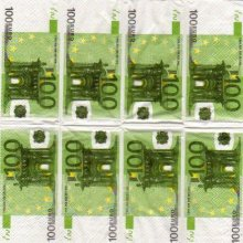 Mouchoirs Money 100 Euro 5 cm X 10 cm 3 plis