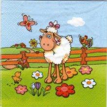 Serviette papier mouton dans l'herbe 33cm X 33 cm 3 plis