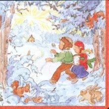 Serviette papier motif neige et enfants 33 cm X 33 cm 3 plis