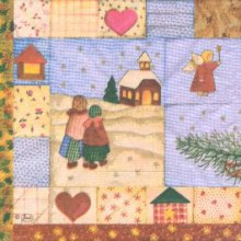Serviette papier Noël et Monde 33 cm X 33 cm 3 plis
