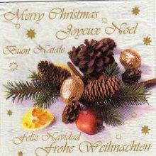 Serviette papier Noël et Boule 33 cm X 33 cm 3 plis