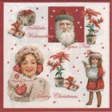 Serviette papier Noël et poupée  33 cm X 33 cm 3 plis