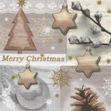 Serviette papier Noël et sapin 33 cm X 33 cm 3 plis