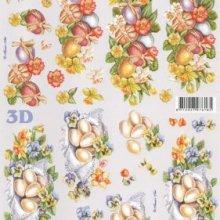 Feuille 3D oeufs Paques et fleur jaune