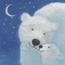 Serviette papier ours blanc et petit 33 cm X 33 cm 3 plis