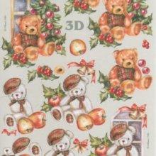 Feuilles 3D  ourson Noel à découper