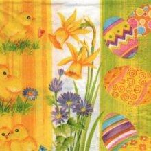Serviette papier Paques et poussins 33 cm x 33 cm 3 plis