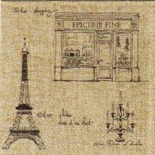 Serviette papier Paris Tour Eiffel et café 33 cm X 33 cm