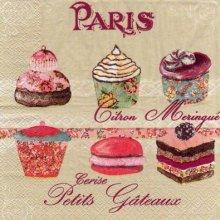 Serviette papier Paris et petit gâteaux 33 cm X 33 cm 3 plis