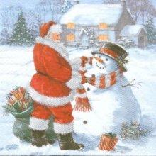 Serviette papier Père Noël et neige 33 cm X 33 cm 3 plis