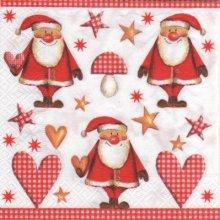 Serviette papier Père Noël et coeur 33 cm X 33 cm 3 plis