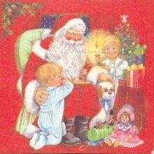 Serviette papier  motif Pere Noël 33 cm X 33 cm 3 plis