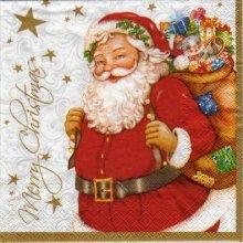 Serviette papier Père Noël et sa hotte 33 cm X 33 cm 3 plis