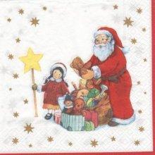 Serviette papier Père Noël et ourson 33 cm X 33 cm 3 plis