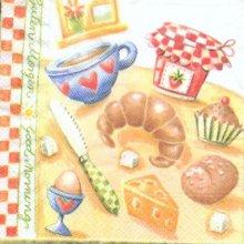 Serviette papier motif petit déjeuner 33 cm X 33 cm 3 plis