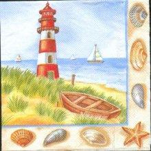 Serviette papier  motif phare à la mer 33 cm X 33 cm 3 plis