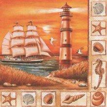 Serviette papier phare et bateau à voile 33 cm X 33 cm