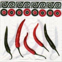 Serviette papier piments rouge 33 cm X 33 cm 3 plis