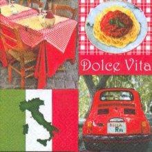 Serviette papier  motif Pizza Italie 33 cm X 33 cm 3 plis