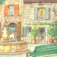 Serviette papier motif place du village 33 cm X 33 cm 3 plis