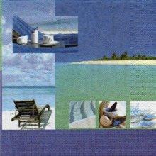 Serviette papier plages des iles 33 cm X 33 cm 3 plis