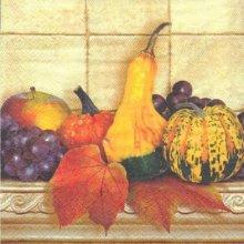 Serviette papier motif poires et raisins 33 cmX33 cm 3 plis