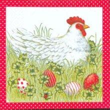 Serviette papier motif poule de Pâques 33 cm X 33 cm 3 plis