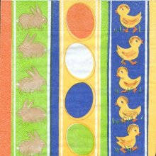 Serviette papier motif lapin de Paques 33 cm X 33 cm 3 plis