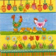 Serviette papier poules et poussin de Paques
