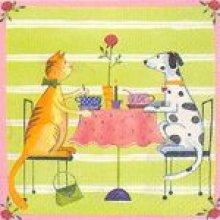 Serviette papier  motif chat et chien 33 cm X 33 cm 3 plis