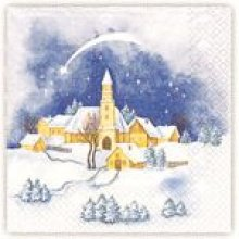 Serviette papier motif paysage Noël 33 cm X 33 cm 3 plis