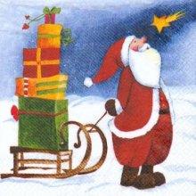 Serviette papier motif Père Noël 33 cm X 33 cm 3 plis