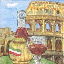 Serviette papier  motif Rome Italie 33 cm X 33 cm 3 plis