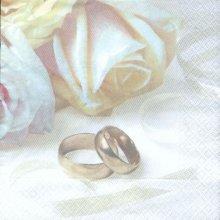 Serviette papier motif mariage + rose blanche