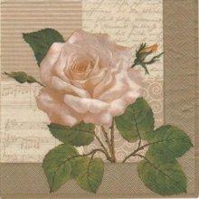 Serviette motif rose et bouton 33cm X 33 cm 3 plis