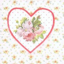 Serviette motif rose et coeur 33cm X 33 cm 3 plis