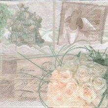 Serviette papier roses et mémoire 33 cm X 33 cm 3 plis